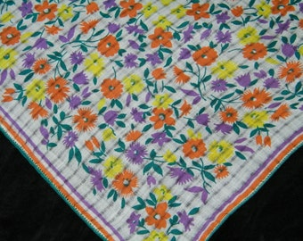 "Vintage 1940's 11 1/2"" Orange, Yellow, Purple Floral Wedding Handkerchief or Doily, 9757"