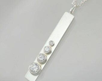 "4 Stone Seqence Necklace (Cubic Zirconia) (18"")"
