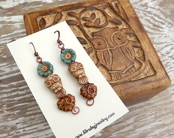Fall jewelry, owl earrings, wire wrapped with glass leaves and flowers
