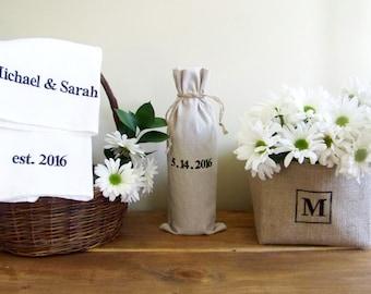 4 piece personalized wedding gift set - anniversary - engagement - tea towel - wine gift bag - burlap basket - monogram - linen - cotton