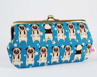 Frame purse with two sections - Pugs on blue stars - Wowlet / Kisslock wallet / Japanese fabric / cute dogs / dark brown fuchsia pink blue