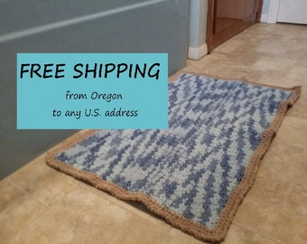 Bath Mat, Reversible Kitchen Rug, US Shipping Included, Made to Order, Custom, Cotton, USA Grown Cotton