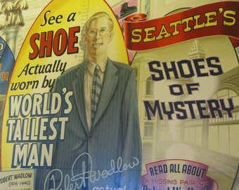 Old Advertising, Pike's Place Seattle WA, US Travel Photography, yellow red, retro wall art, fun art, old time advertising, wierd print