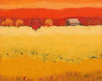 Modern Farm Landscape, Farm Barn, Orchard Trees, Hot Summer Day, Art Print, Warm Summer Colors, Farm Field, Yellow Red, Farm Country, 8 x 8