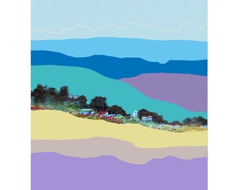 Abstract Hillside Landscape, Minimalist Art Print, Hillside Houses, Contemporary Art, Blue Violet, Bright Colors, Modern Wall Decor, 10 x 8