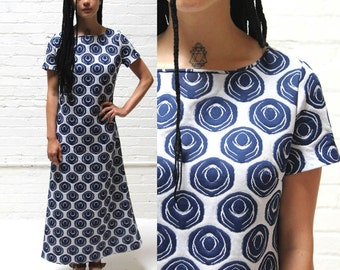 pass the orb -- graphic vintage 70s geometric maxi dress M