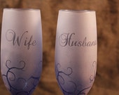 Blue Husband and Wife Wedding Anniversary Frosted Etched Champagne Toasting Glasses Set Of 2