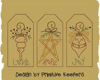 Christmas Ornament-3 Tag Designs-Primitive Machine Embroidery-4x4-INSTANT DOWNLOAD