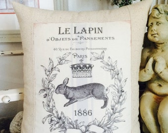 Vintage Bunny Rabbit Le Lapin French Shabby Chic Pillow Cover with Pillow Form, Bunny Throw Pillow, Cottage Cushion
