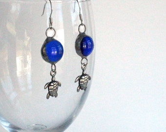 Stained Glass Jewelry Earrings - Where Turtles Play