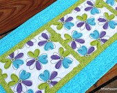 Quilted Table Runner Modern Floral Turquoise Green White