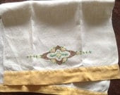 Vintage Embroidered Linen Hand Towel, Guest Towel, Yellow Borders, reserved for Pamela