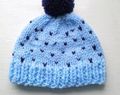 Boy Hat for age 1-2 Years Beanie with Pom Pom Blue and Navy Colour