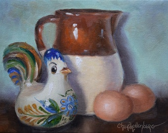 Small Still Life Painting, Ceramic Rooster And Chicken Eggs, Original Canvas Oil Painting by Cheri Wollenberg