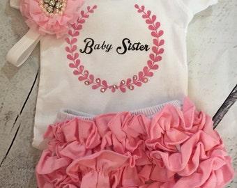 Newborn Baby Sister Tee, Ruffled Bloomers and Headband Set New to Shop