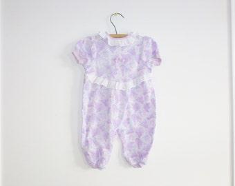Vintage Purple Floral Baby Pajamas