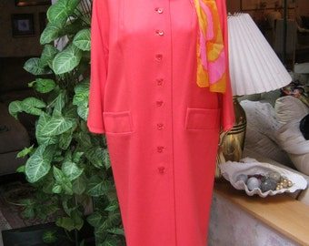 Vintage 60s rich coral color lightweight coat, size Medium coral wool shaped topper, Jackie Kennedy pink/orange Dumas retro coat, midcentury