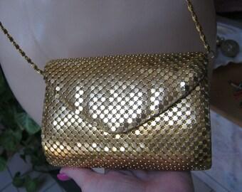 Vintage small gold mesh shoulder bag, gold metal mesh clutch or chain bag, Y & S Originals gold evening bag, gold mesh mini bag, prom bag