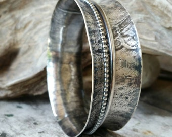 Earthy Silver Bangle, Sterling Spinner, Leaf Texture, Handmade Spinning Flared Wide Bracelet, Anticlastic Metal Cuff, Rustic, Boho,MoxZmetal
