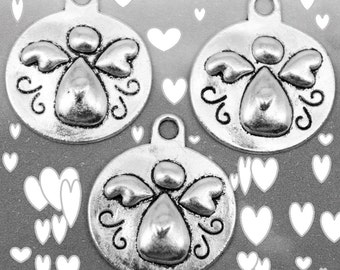 Round Silver Angel Charms, Pack Of 10