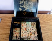 Vintage Bone and Bamboo Mah Jong Partial Set 70 Tiles - 1920s-30s - Antique Black Wooden Box w/ Gold Dragon, Tiles - Bone Sticks - Wood Dice