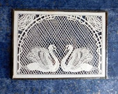 Vintage Papercut Swans Framed Between Glass - Victorian Style Design - Extremely Fine Lace-Like Cut Paper - Scherenschnitte Cutwork Birds