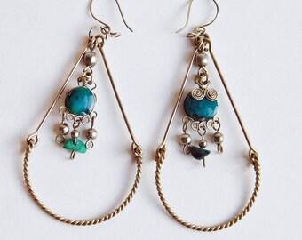 Vintage Peruvian Turquoise / Alpaca Dangle Earrings - Wire Earrings for Pierced Ears - Silvertone Teardrop-Shaped Dangles - Hippie Boho