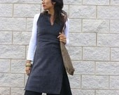 Sale Fleece ASIAN TUNIC-Women's cozy sweater-Empire cut tunic with side slits-Womens clothing-Winter