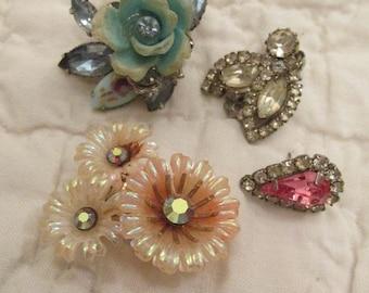 Vintage 4 piece Earring Destash Rhinestones