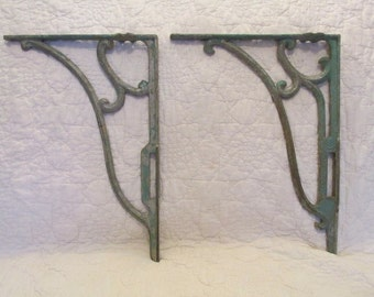 2 Vintage metal Brackets Large Chipped green paint