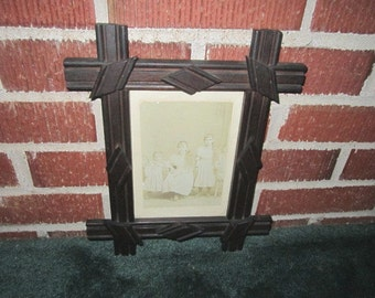 Antique Circa 1900 Arts and Crafts Fumed Oak Frame with Sweet Old Photo