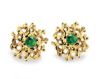 ON SALE - CORAL 14K Gold Earrings Posts Medium, Gold Emerald Posts, Gold Emerald Earrings,  Emerald Studs Earrings, Gold Stud Earrings