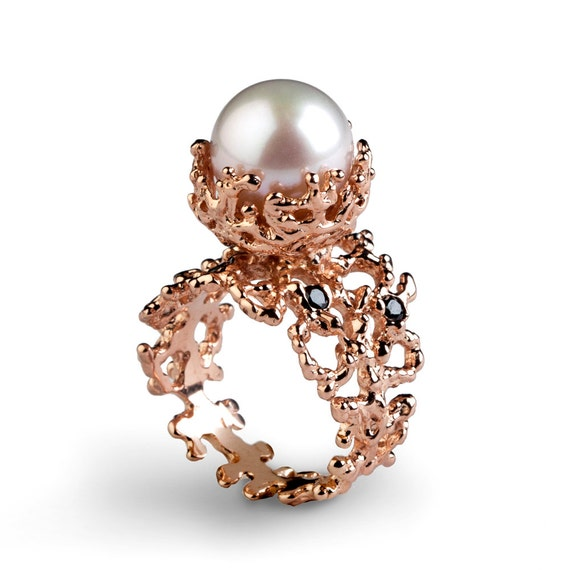 CORAL Black Diamond Ring Rose Gold Engagement Ring Pearl