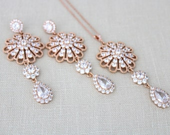Rose Gold Bridal necklace, Rose Gold Bridal earrings, Wedding jewelry, Crystal Bridal necklace, Rose Gold Bridal jewelry, Necklace set