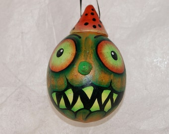 Halloween Gourd Ornament, Haunted Halloween Ghoul, Egg  Gourd Ornament (232)