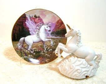 Collectible Vintage Unicorn Music Box And Collectible Plate, Enchanted World of the Unicorn Plate Collection