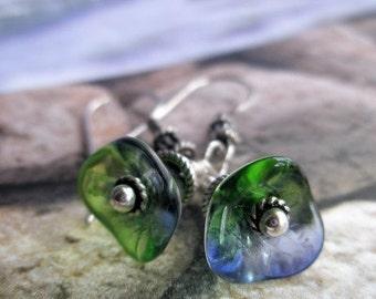 Glass Flowers, Sterling Silver, Sparkling Earrings, Blue Green