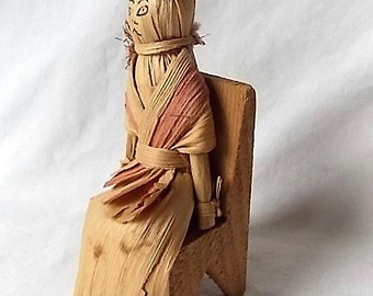 Vintage Weird Witchy Corn Husk Doll in Wood Chair Folk Art