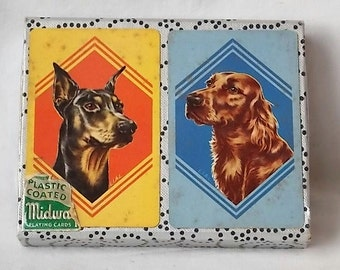 2 Decks Vintage Dog Playing Cards Doberman & Red Irish Setter in Slipcase