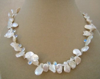 Winter Petal -- Petal Pearl and Rainbow Moonstone Briolette Necklace