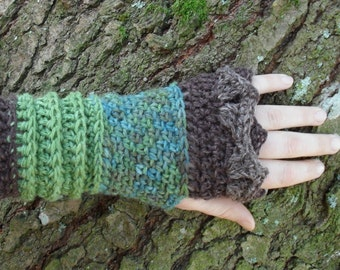 Woodland Gypsy gauntlets Handmade Hemp Wool Pixie Fae arm warmers wool sleeves Ready to Ship