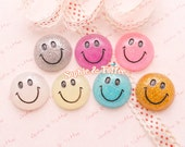 Glittery Smiley Face Flat Back Resin Cabochon - 7pc | Resin Cabochon Decoden Supplies Jewelry Making Flatback Resin Cabochon