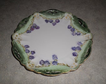 Rosenthal Germany Lion D'Or RC Crown hand painted signed blackberry & flower pierced porcelain PLATE