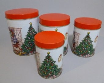 Vintage Metal Night Before Christmas Canisters