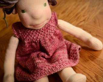 12 inch Waldorf Doll Clothes Pink Waldorf Doll Sweater Dress