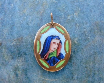 Our Lady of Sorrows Holy Virgin Mother Mary Antique Hungarian Hand Painted Limoges Enamel Porcelain Gold Medal Catholic Religious