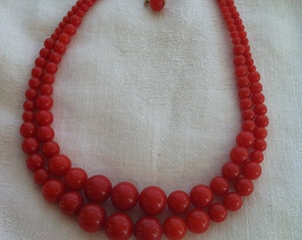 Vintage Cherry Red Necklace from Barneche/Stephanie Barnes