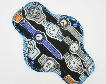 """10"""" Moderate Flow Reusable Cloth Menstrual Pad ~ Made w/ Watches Cotton Flannel, WINDPRO ~ Day Pad, Cloth Pad by MotherMoonPads"""