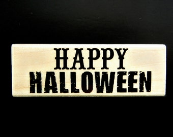 Hero Arts HAPPY HALLOWEEN Wood Mount Rubber Stamp