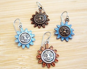 Mayan Sun Charm Earrings Hand Painted 4 Color Choices